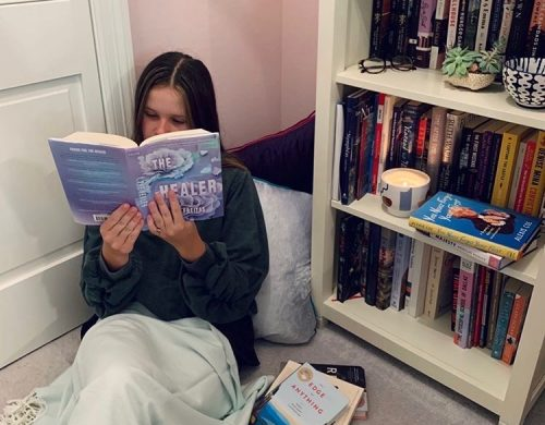 Emily with Book